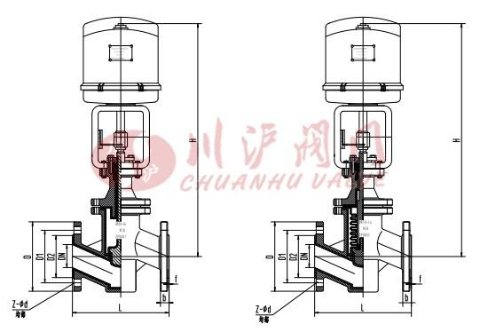 电动衬氟调节阀 结构图图片